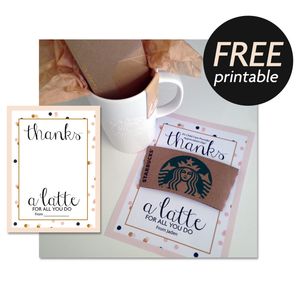 image regarding Thanks a Latte Printable called Owing a Latte Free of charge Present Print